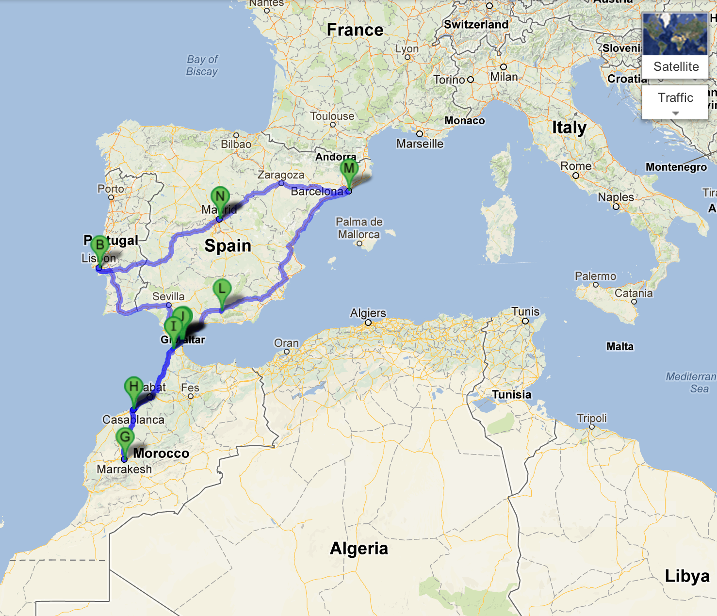 Detailed Map Of Spain Portugal And Morocco.Madrid To Marrakech The Maps